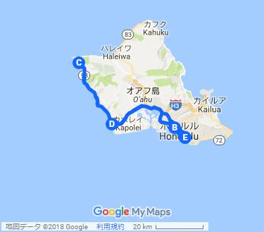 オアフ島 最後の秘境&最新のリゾート ウエストコーストツアーの地図