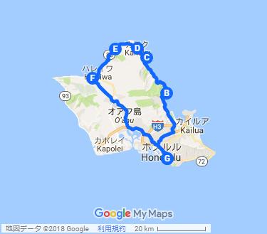 ハワイアンの聖地 クアロア&ガーリックシュリンプをがっつり ツアーの地図