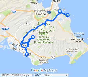 カイルア&ラニカイ 大満足ツアーの地図
